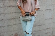 17 distressed denim, a blush blouse and nude sandals
