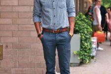 17 navy pants, a blue gingham shirt, ocher shoes