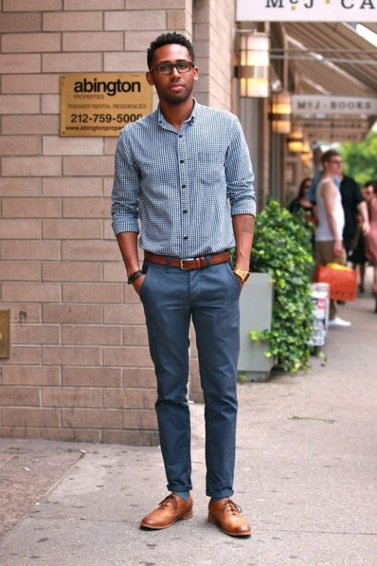 navy pants, a blue gingham shirt, ocher shoes