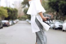 18 a grey midi skirt, a white off the shoulder tunic and black heels