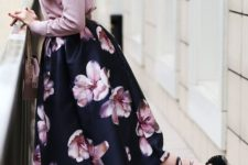 18 a navy cherry blossom midi, a pink blouse, black lace up flats
