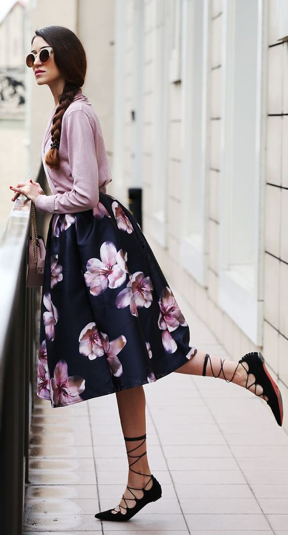 a navy cherry blossom midi, a pink blouse, black lace up flats