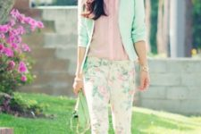 18 floral pants, a pink shirt, a mint blazer and nude heels