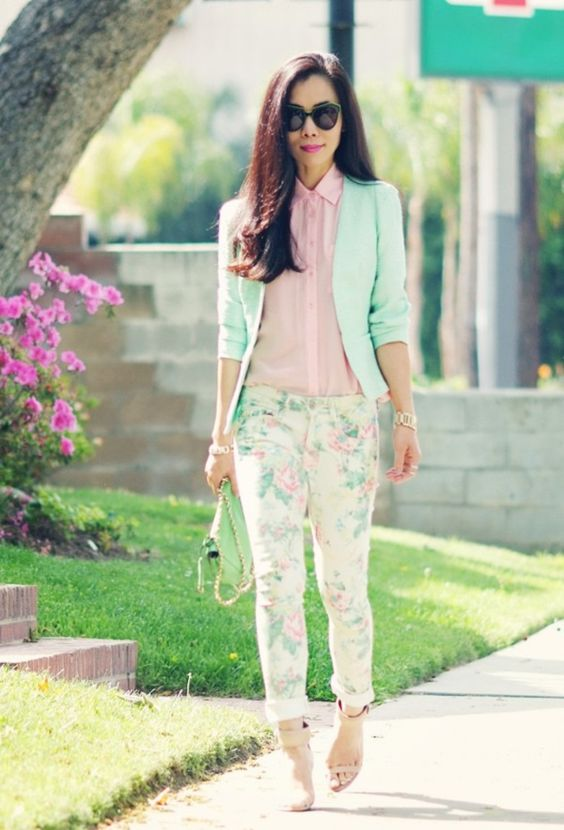 floral pants, a pink shirt, a mint blazer and nude heels
