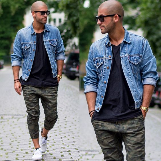 khaki pants, a black tee, a denim jacket and white chucks