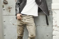 18 neutral jeans, a white tee, a black leather jacket and high boots