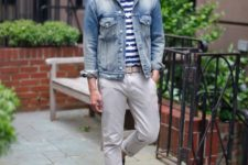 19 light grey pants, a striped shirt, a denim jacket and brown moccasins