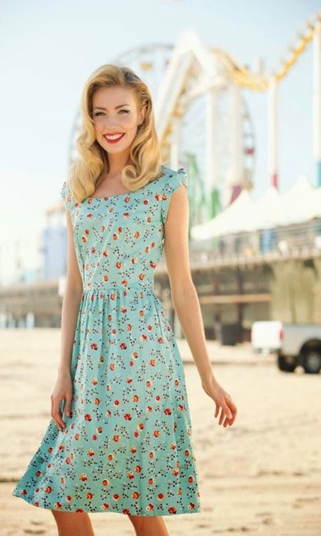 mint retro knee dress with a floral print