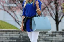 19 white jeans, a bold blue top and bold blue shoes