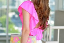 19 white shorts, a hot pink ruffled top and a floral clutch