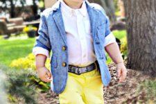 19 yellow pants, a white shirt, a blue jacket