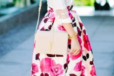 20 a white blouse with lace sleeves, a pink floral midi skirt, hot pink heels