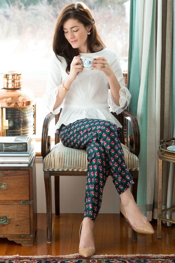 nude flats, retro floral pants and a vintage-inspired blouse with lace sleeves