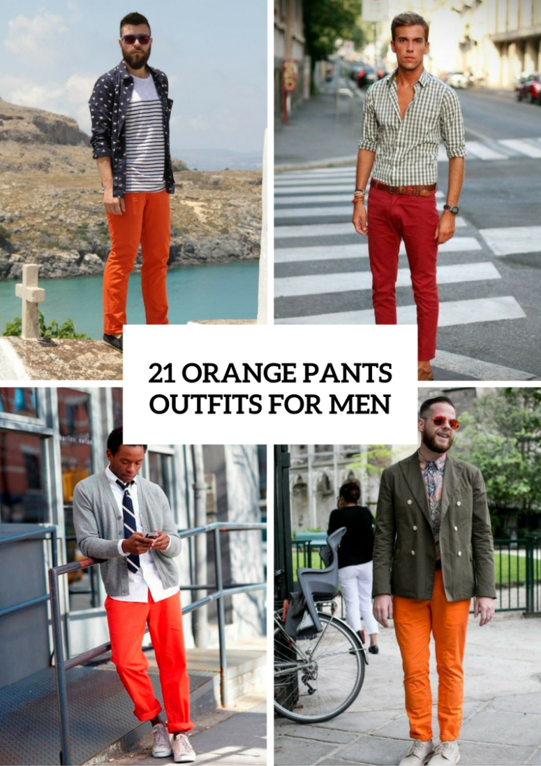 21 Men Outfits With Orange Pants