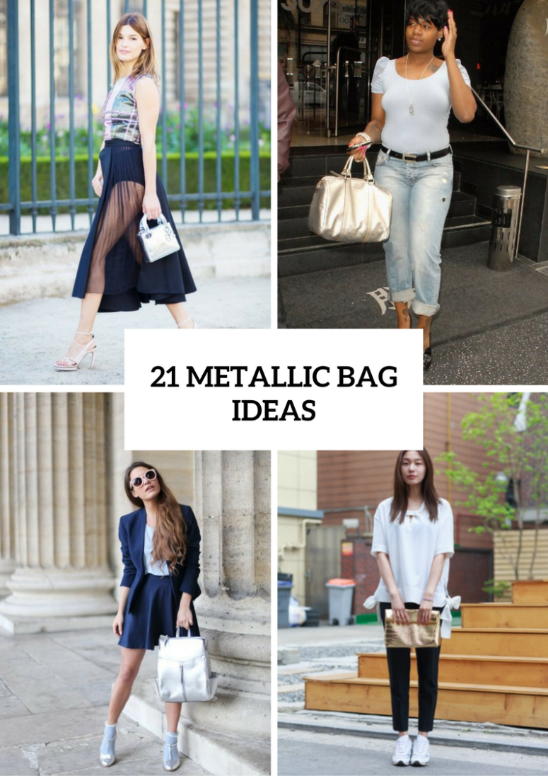 Stunning Outfits With Metallic Bags