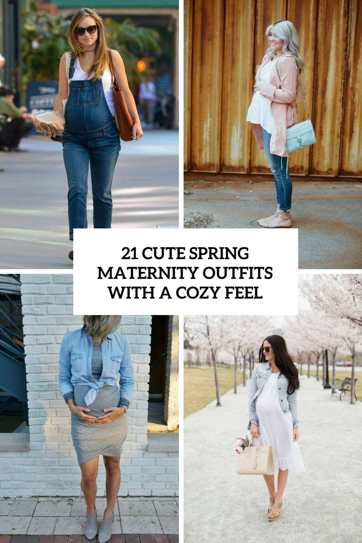 8b8ce2f1c3 21 Cute Spring Maternity Outfits With A Cozy Feel - Styleoholic