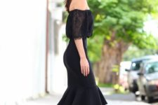 21 silver heels, a black lace off the shoulder, a black pencil skirt with ruffles