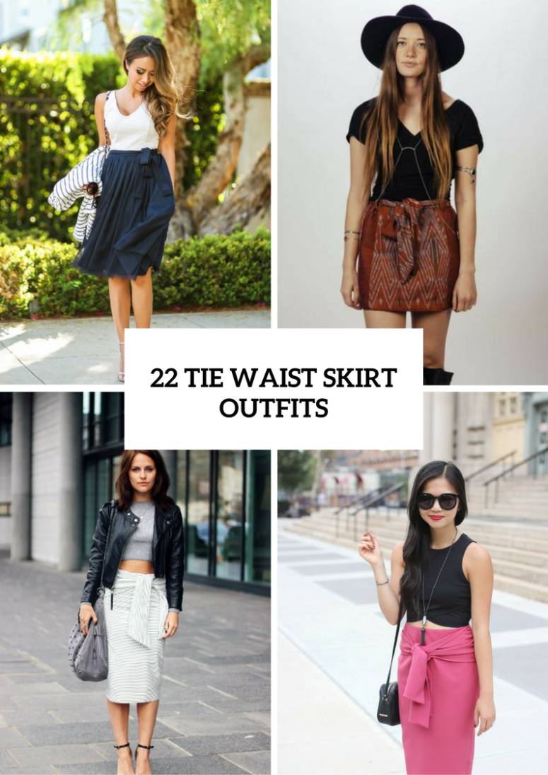 22 Spring Outfits With Tie Waist Skirts