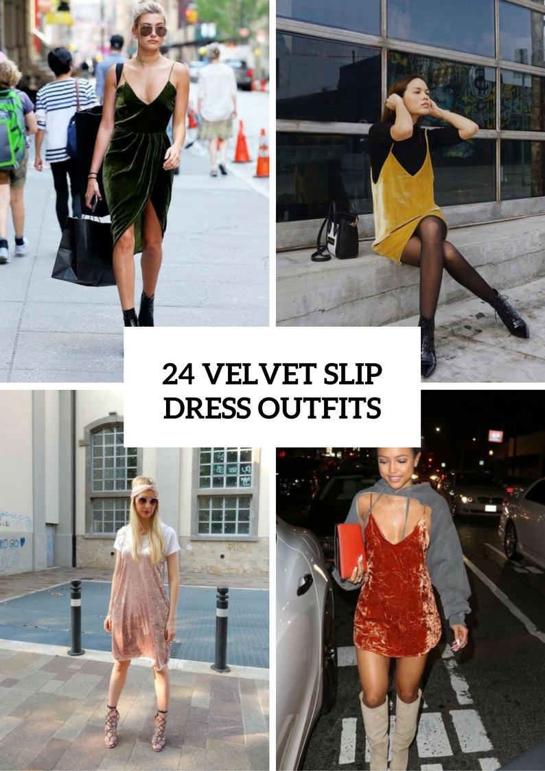Spring Outfits With Velvet Slip Dresses
