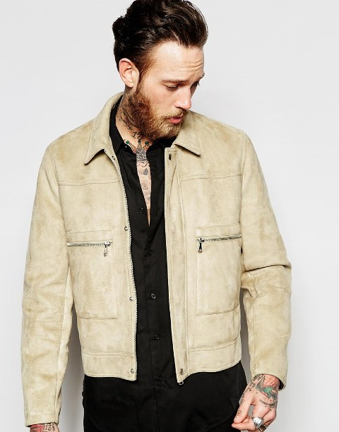Beige jacket with black shirt