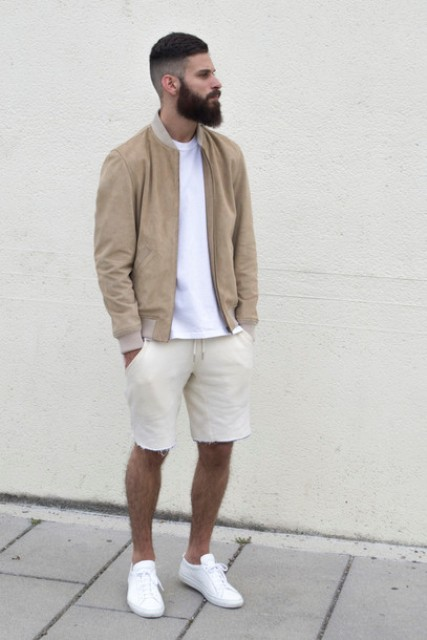 Picture Of Beige Jacket With White T Shirt And Beige Shorts