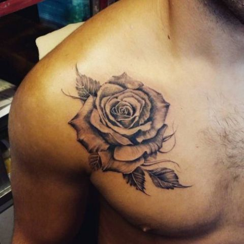 Big rose on the chest
