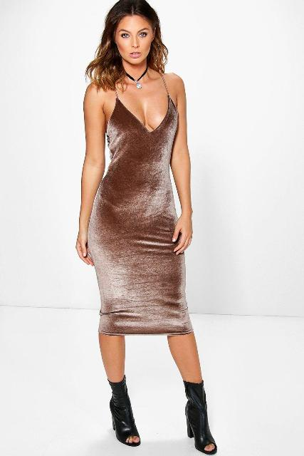 Bronze color dress with cut out boots
