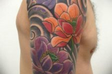 Colorful half-sleeve floral tattoo