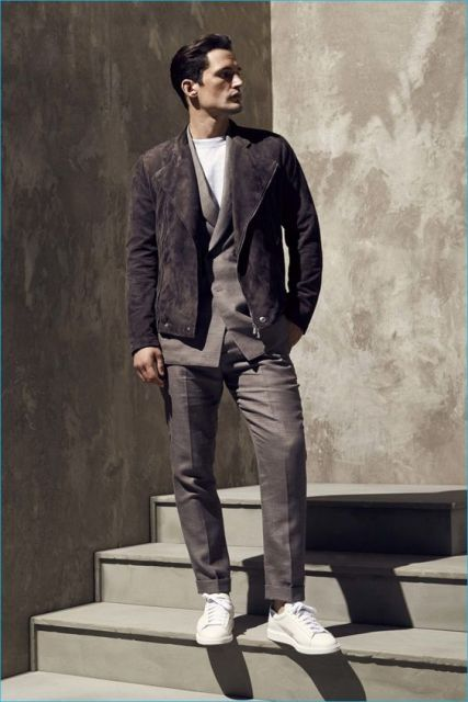 Dark color jacket with white shirt, gray suit and white sneakers