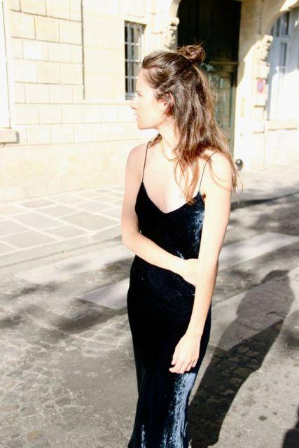 Dark color midi dress