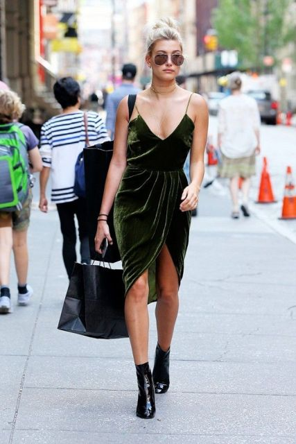 Emerald Dress With Black Ankle Boots And Sungles