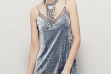 Gray mini dress with statement necklace