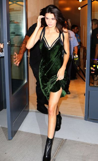 Green dress with black ankle boots