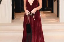 Marsala maxi dress with boots and necklace