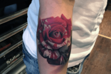 Perfect 3D rose tattoo