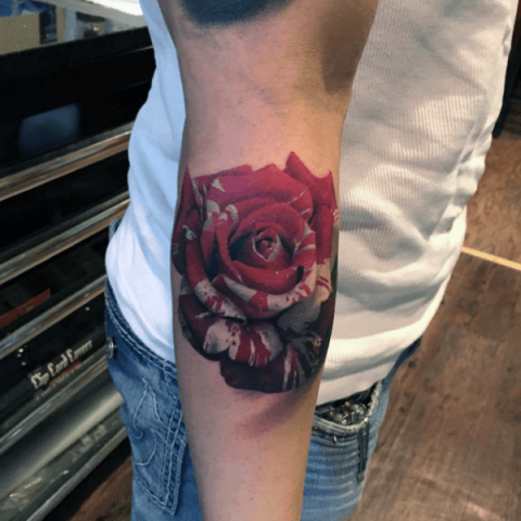 Perfect 3D rose tattoo