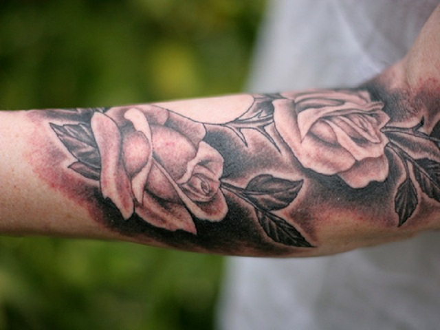 Pink floral tattoo idea