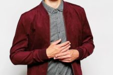 Red jacket with gray shirt and black trousers
