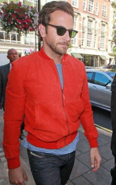 Red jacket with gray shirt and jeans