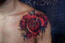 Unique rose tattoo on the shoulder