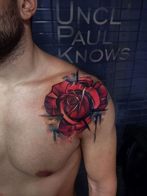 Unique rose tattoo on the shoulder