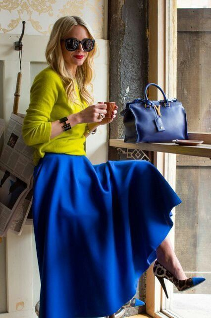 With A-line midi skirt and simple shirt