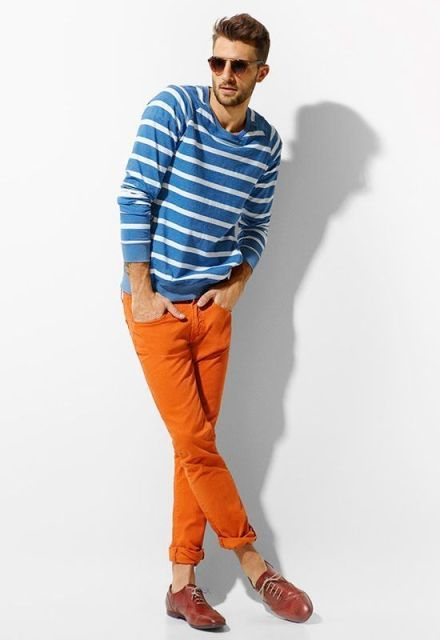 With blue and white striped shirt and red shoes