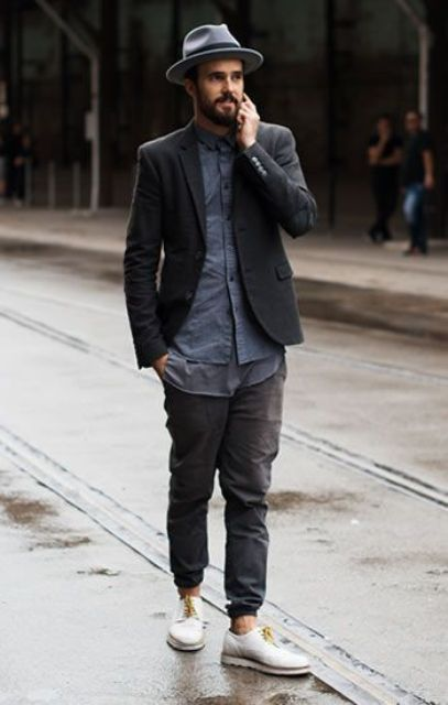 With blue shirt, jacket, hat and white shoes