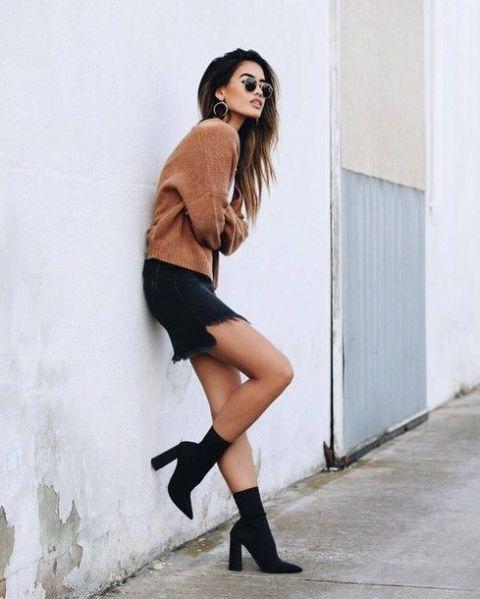With brown shirt and mini skirt