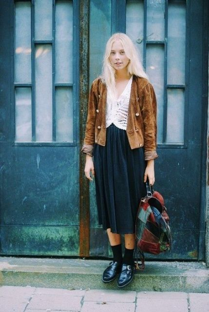 With brown suede jacket, white shirt and midi skirt