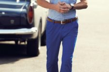 With button down shirt, brown belt and shoes