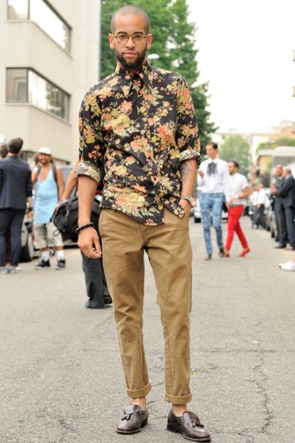 With camel cuffed pants and brown shoes