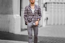 With checked jacket, white t-shirt and gray cuffed pants