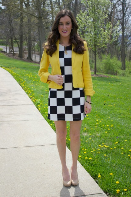 With checked mini dress and beige shoes